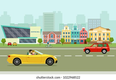 City street panoramic. City life set with cars, road and buildings. Vector flat style illustration.