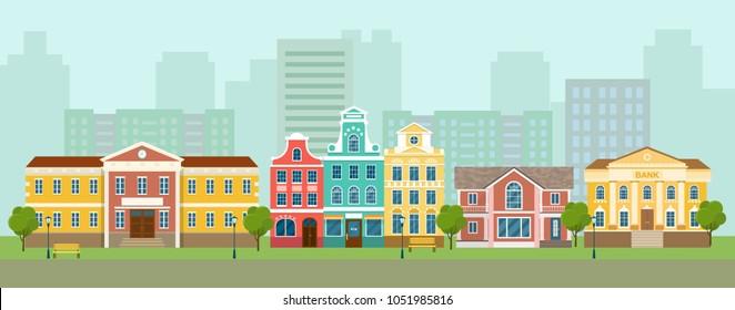 City street panoramic. City life set buildings. Vector flat style illustration.