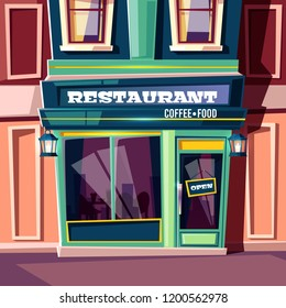 City street restaurant with open plate on entrance door and vintage lanterns on facade cartoon vector illustration. Sidewalk cafe, local family cafeteria, small business eatery with retro exterior