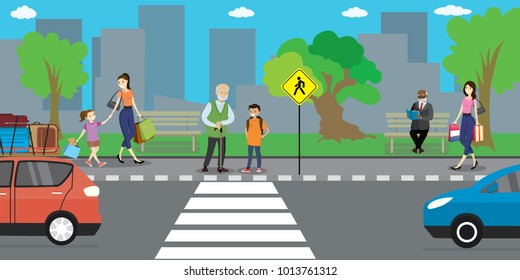 City street and road, people go and stand,urban life concept,outdoor flat vector illustration