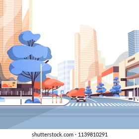 City street road skyscraper buildings view modern cityscape downtown flat vector illustration