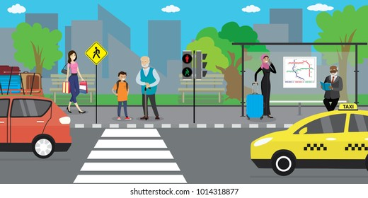 City street and road,public transport stop, people go and stand,urban life concept,outdoor flat vector illustration