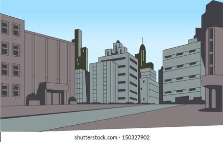 City Street Scene Background for Superhero Comics or Animation