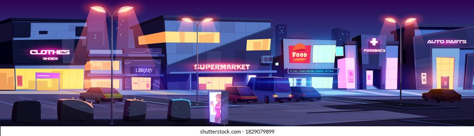 City street with shops and commercial buildings at night. Vector cartoon cityscape with cafe, library, pharmacy, supermarket and parking with cars lit by street lights. Evening town with stores