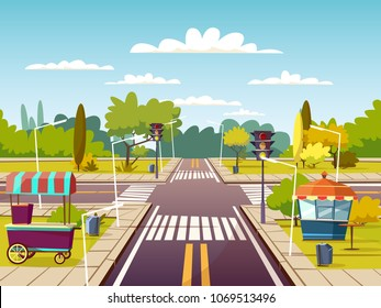 City street sidewalks vector illustration of urban road with street food vendor cart and booth. Cartoon flat background design of stoplight on lane with marking and pedestrian crossing or crosswalk