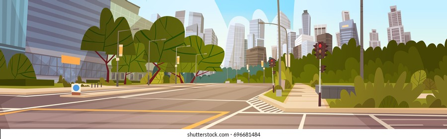 City Street Skyscraper Buildings Road View Modern Cityscape Empty Downtown Flat Vector Illustration