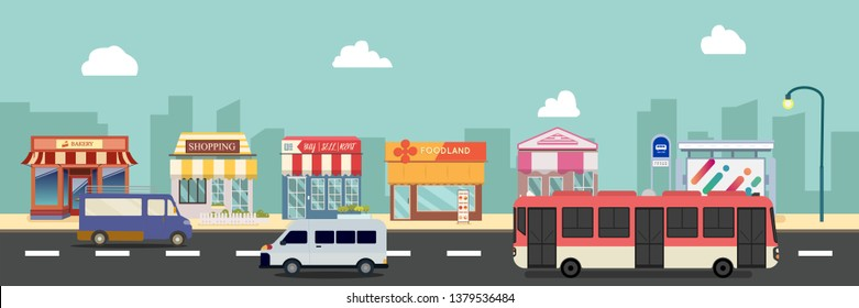 City street and store buildings with bus , minibus on street vector illustration, a flat style design.Business storefront and public bus stop in urban .Public store on main street with cars.