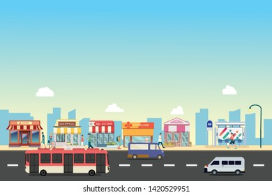 City street and store buildings with bus , minibus with people on street vector, a flat style design.People walk with Business storefront and public bus stop in urban