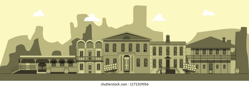 City street in style of wild west. Building, tavern bank and other buildings on background of mountains. Illustration in style of flat