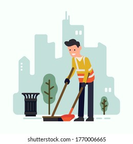 City street sweeper character at work. Vector concept illustration on municipal street cleaning