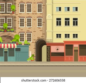 City street with tall buildings panoramic views and shops on the first floor