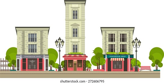 City street with tall buildings panoramic views and shops on the first floor on a white background