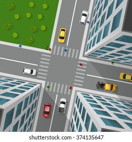 City street top view 3d design concept with crossroad cars buildings and markings of pedestrian crossings vector illustration