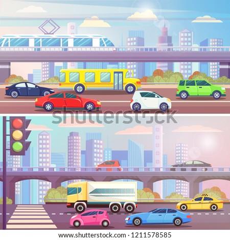 0c7004fb55 City Street Traffic Light Transport Vector Stock Vector (Royalty ...