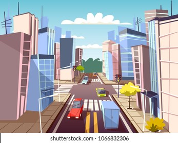 City street vector illustration of urban cars transport on traffic lane and pedestrian crosswalk with marking. Cartoon flat cityscape buildings and streets design for carsharing or car navigation