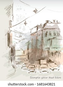 City street vector illustration watercolor effect nand made drawn