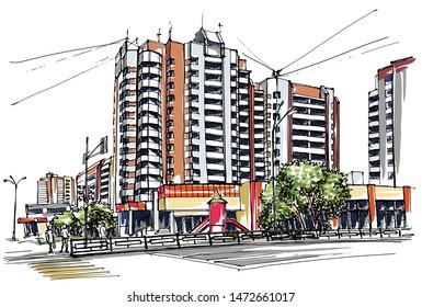 City street view. Hand drawn sketch