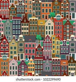 City streets with old buildings, seamless pattern