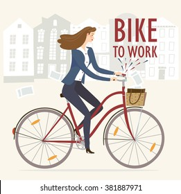 City style business lady riding on a cruiser bicycle. Bike to work poster. Including beautiful european cityscape background. Hand drawn cartoon illustration.