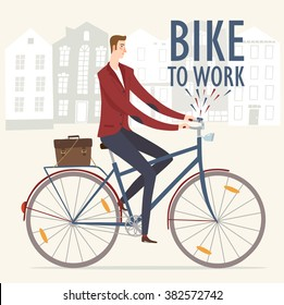 City style business man riding on a  bicycle. Bike to work poster. Including beautiful european cityscape background. Hand drawn cartoon illustration.