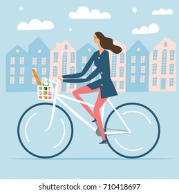 City style woman riding on a bicycle with goods in a basket. Including beautiful european cityscape background. Hand drawn cartoon illustration.