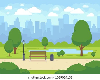 City summer park with green trees bench, walkway and lantern. Town and city park landscape nature. Cartoon vector illustration - Shutterstock ID 1039024132