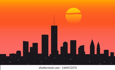 City sundown panorama flat vector illustration. Buildings, skyscrapers silhouette. Greeting card, banner background with copyspace. Urban Scenery, downtown landscape. Evening cityscape