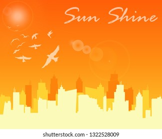 City sunset, City sunshine, City sunlight. Illustrator