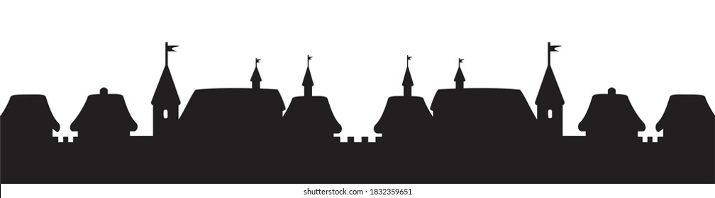 City with surrounding wall and spires, black silhouette on white background
