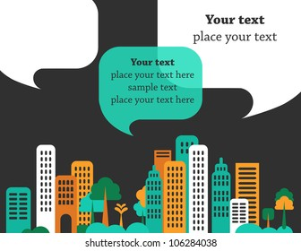 City talks, buildings and speech bubbles. Vector