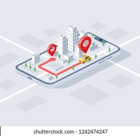 City taxi device app isometrics 3d Vector illustration