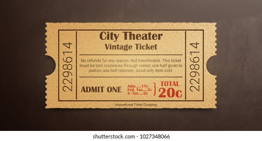 City theater vintage ticket. High detail grunge paper or cardboard.Vintage old coupon. Retro ticket template. Vector illustration.