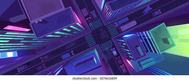City top view with buildings, cars on road and pedestrian crosswalk at night. Vector cartoon cityscape in aerial view, street crossroad, sidewalk and roofs of urban houses with glow windows