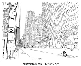 toronto city scape stock vectors images vector art shutterstock Toronto Tourist Attractions city of toronto architecture in canada summer street scape hand drawing of the famous