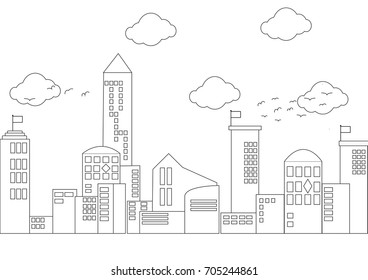 City, Town and Countryside in Linear Style - buildings, skyscraper.Vector illustration