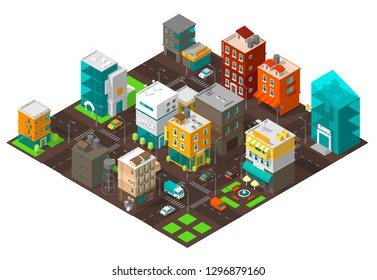 City town district street Isometric Intersection road 3d. Very high detail projection view. Cars end buildings top view.