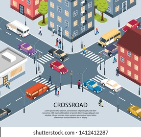 City town four way intersection crossroad isometric view poster with traffic lights pedestrian zebra crossing vector illustration