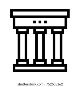 City or town hall flat icon. Line vector of government administrative building. Simple illustration of a courthouse and municipality. Pixel perfect EPS file isolated on white background.
