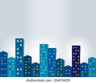 City, town night panorama. Background.