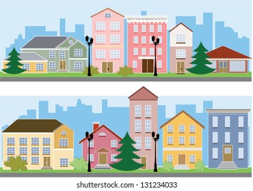 city, town or village with trees