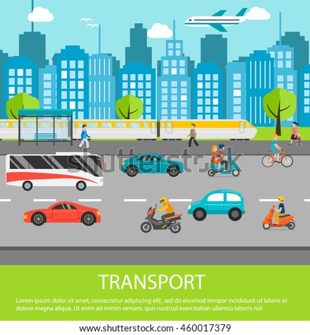 e80b097d1c City traffic background with transport vehicles. Set of transportation  icons with motorcycle