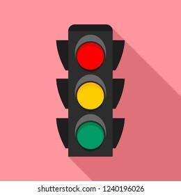 City traffic lights icon. Flat illustration of city traffic lights vector icon for web design