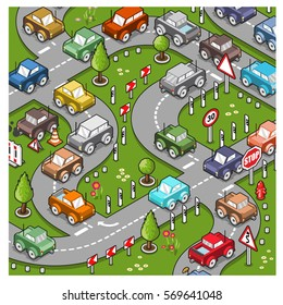 City traffic on the streets, many miniature cars driving around curves (vector cartoon)