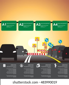 City traffic road infographics