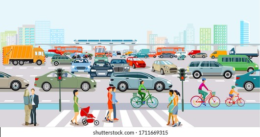 City with traffic in rush hour and pedestrians on the sidewalk