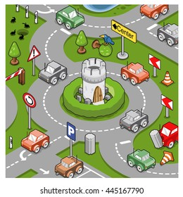 City traffic scene with cars driving around a roundabout with little tower in center  (isometric view)