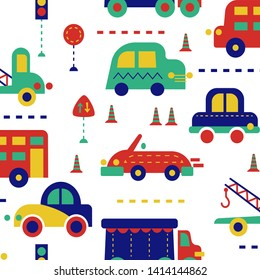 City traffic seamless pattern for kids