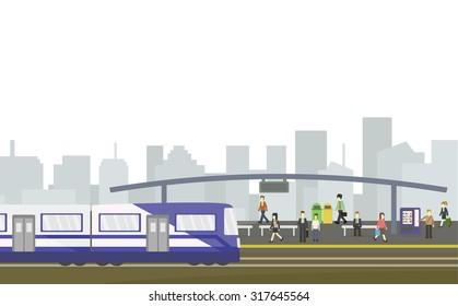 City train station flat style on white background, Public transportation.vector illustration