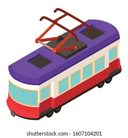 City tram car icon. Isometric of city tram car vector icon for web design isolated on white background