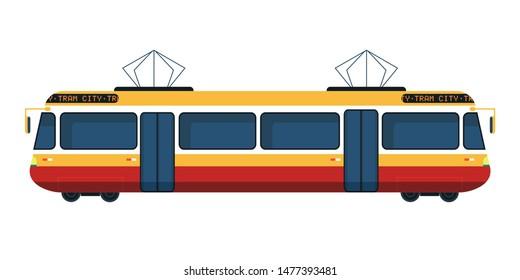City tram flat vector illustration. Cartoon modern public transport, trolley isolated clipart on white background. Passengers, people transportation service. Urban trolleybus design element